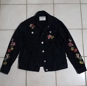 Embroidered Floral Jean Jacket (size: 4)